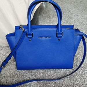Michael Kors Electric Blue Selma Leather Satchel